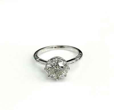 2.00 Carats Round Diamond Solitaire Wedding/Engagement Ring H SI2 Platinum