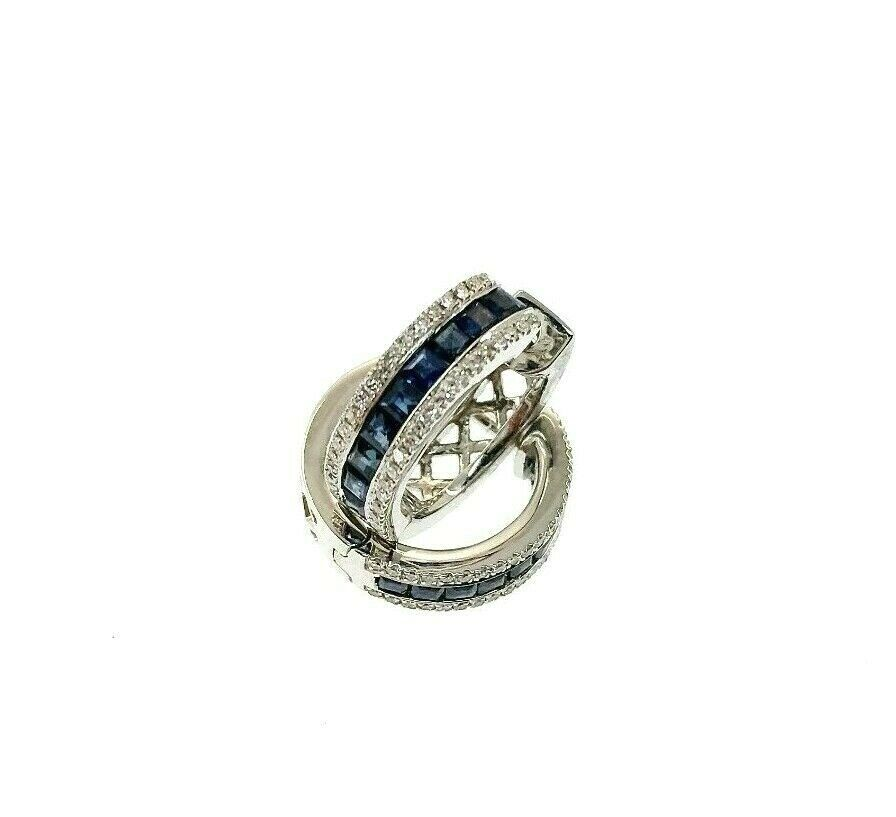 Fine 1.34 Carats t.w. Pave Set Diamond & Channel Sapphire Huggie Earrings 14k
