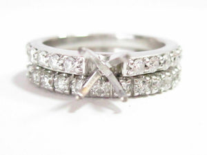 .75 TCW Semi-Mounting Round Diamond Ring Wedding Set 14k White Gold Size 6