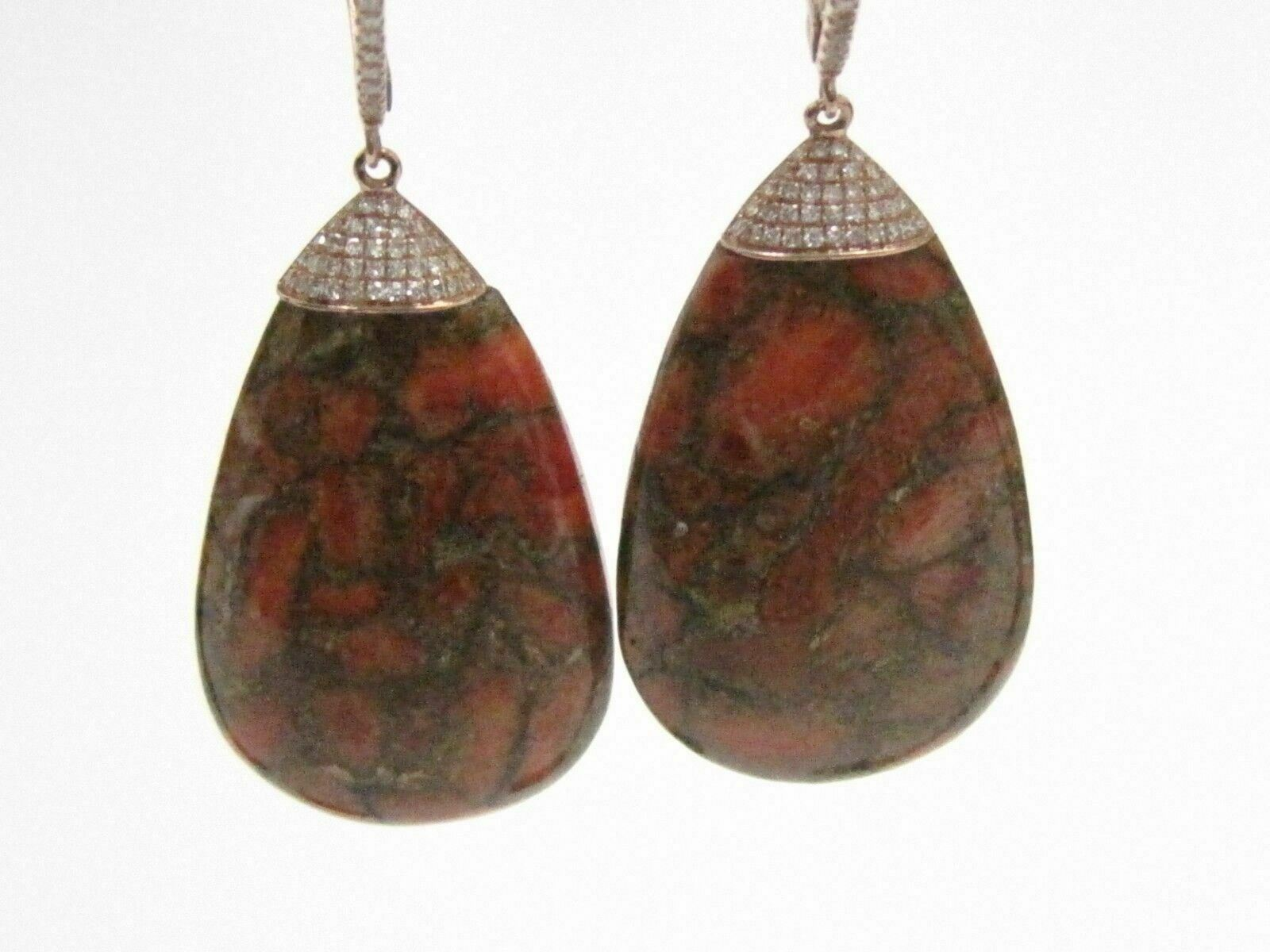 46.44 TCW Pear Rustic Orange Opal Diamond Dangling Earrings 14k Rose Gold