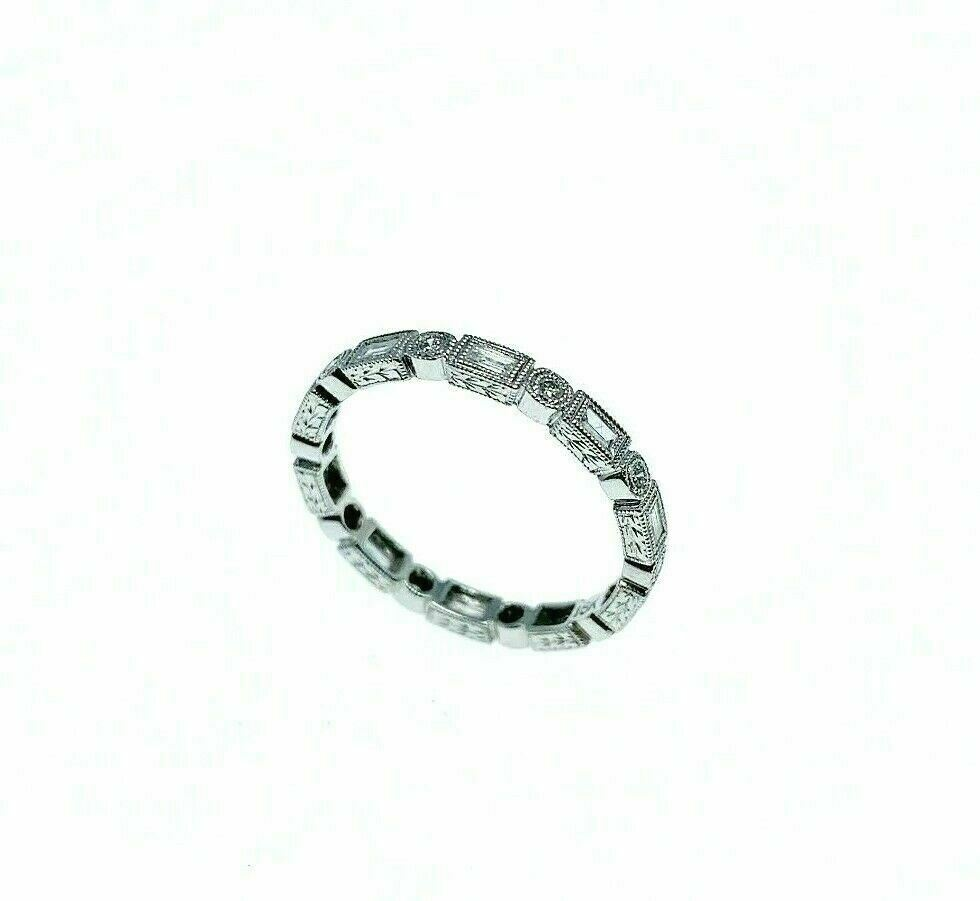 0.40 Carat t.w. Round and Baguette Diamond Stack/Wedding Eternity Ring Millgrain