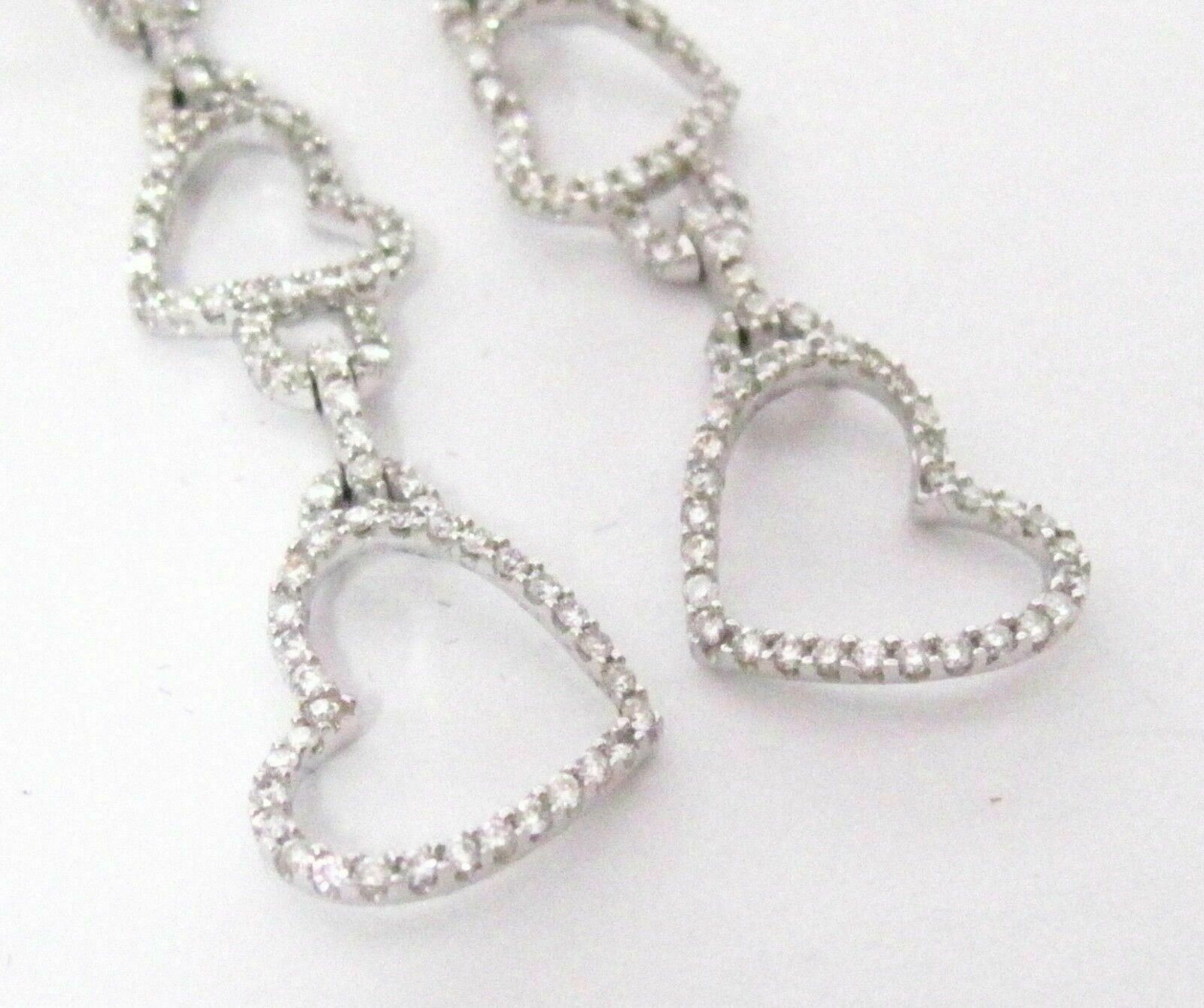 Fine 3 Hearts Dangling Round Diamond Earrings G SI-1 18k White Gold Push Back