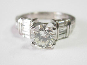 1.58 TCW EGL Round & Baguette Diamonds Solitaire Engagement Ring H-I SI1 18k WG