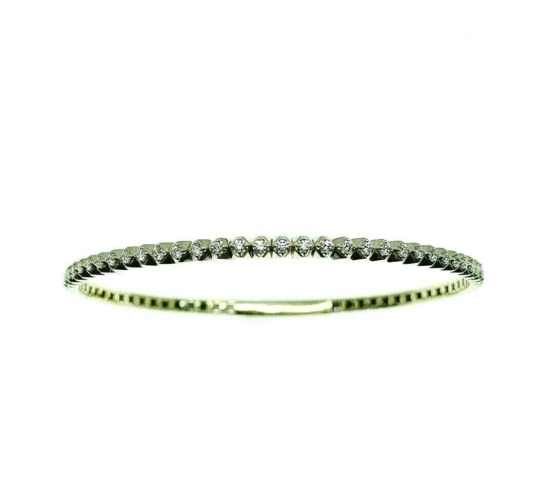 0.82 Carats Squishy Round Diamond Bangle Bracelet 14K Yellow Gold 80% Diamonds