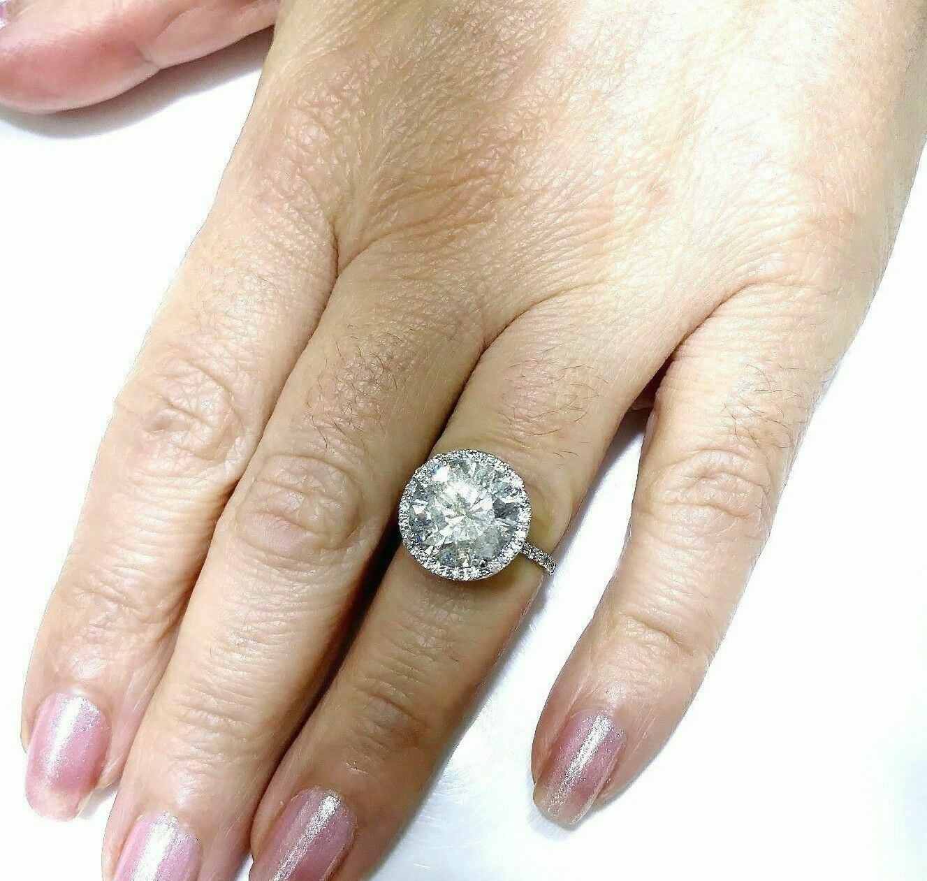 $31,805 Retail 6.15 Carats EGLUSA Round Brilliant Diamond Halo Engagement Ring