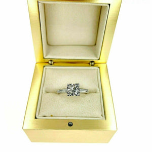1.20 Carats t.w. Diamond 3 Stone Platinum Wedding/Anniversary Old Euro Center