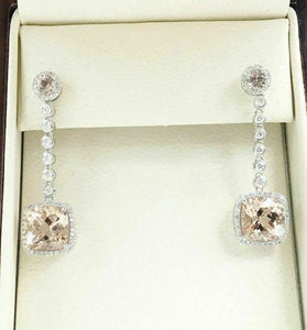 6.65 tcw Margonite Cushion Drop Earrings Halo Diamond Dangling in 14K White Gold