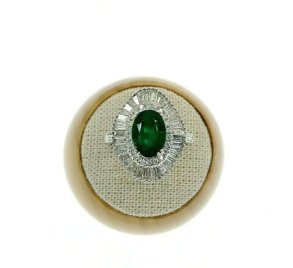 4.23 Carats Oval Emerald & Baguette Diamond Anniversary Cocktail Ring 18k Gold