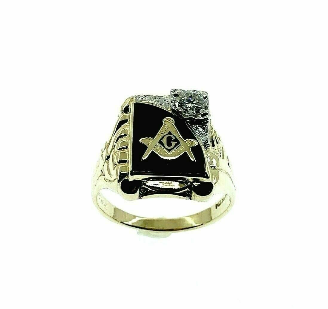 0.40 Carat H VS 2 Vintage Masonic Mens Diamond Two Tone Ring 14K Yellow Gold