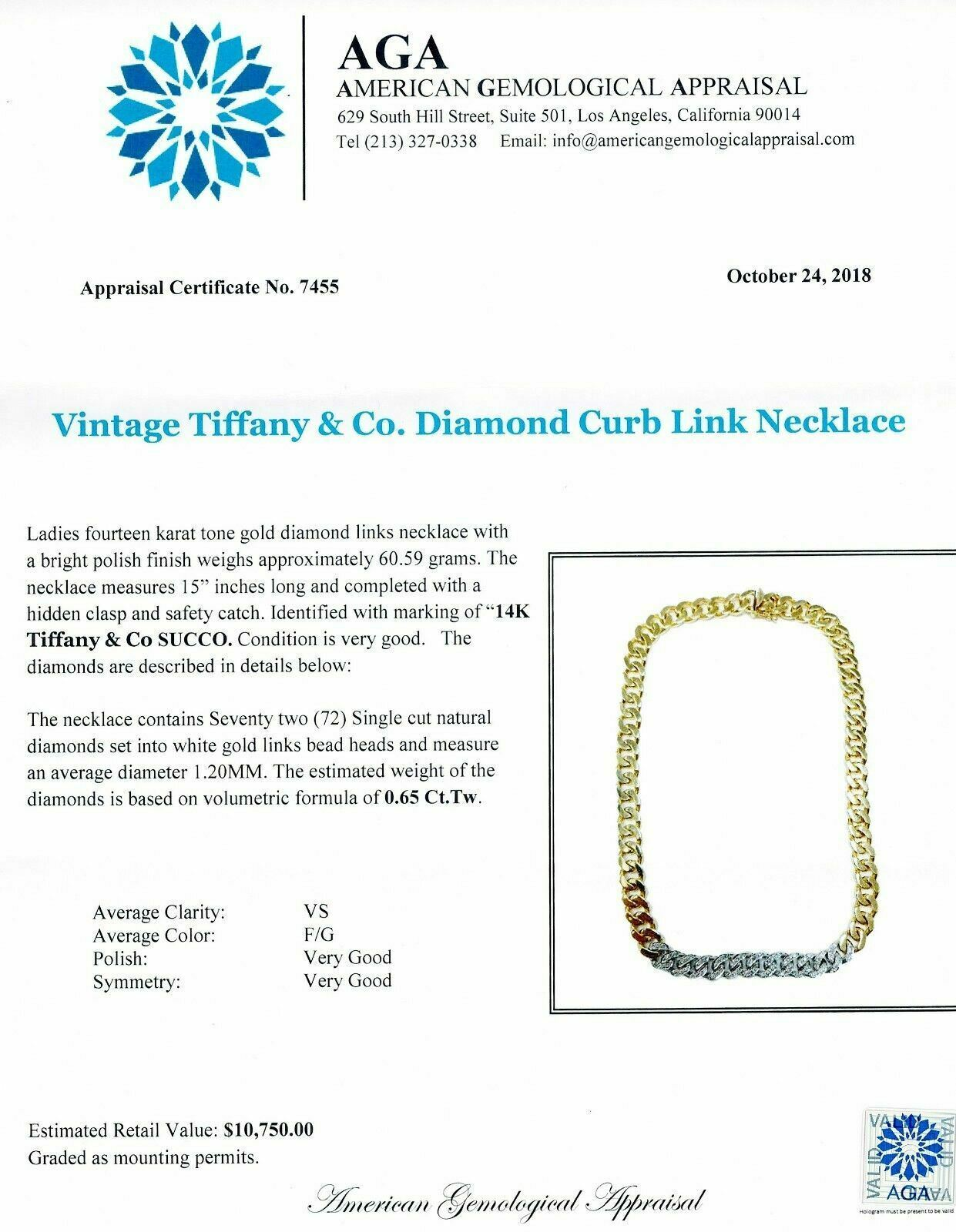 Original Vintage Tiffany and Co. F VS Diamond Curb Chain 0.65 Carats 1.94 Ounces