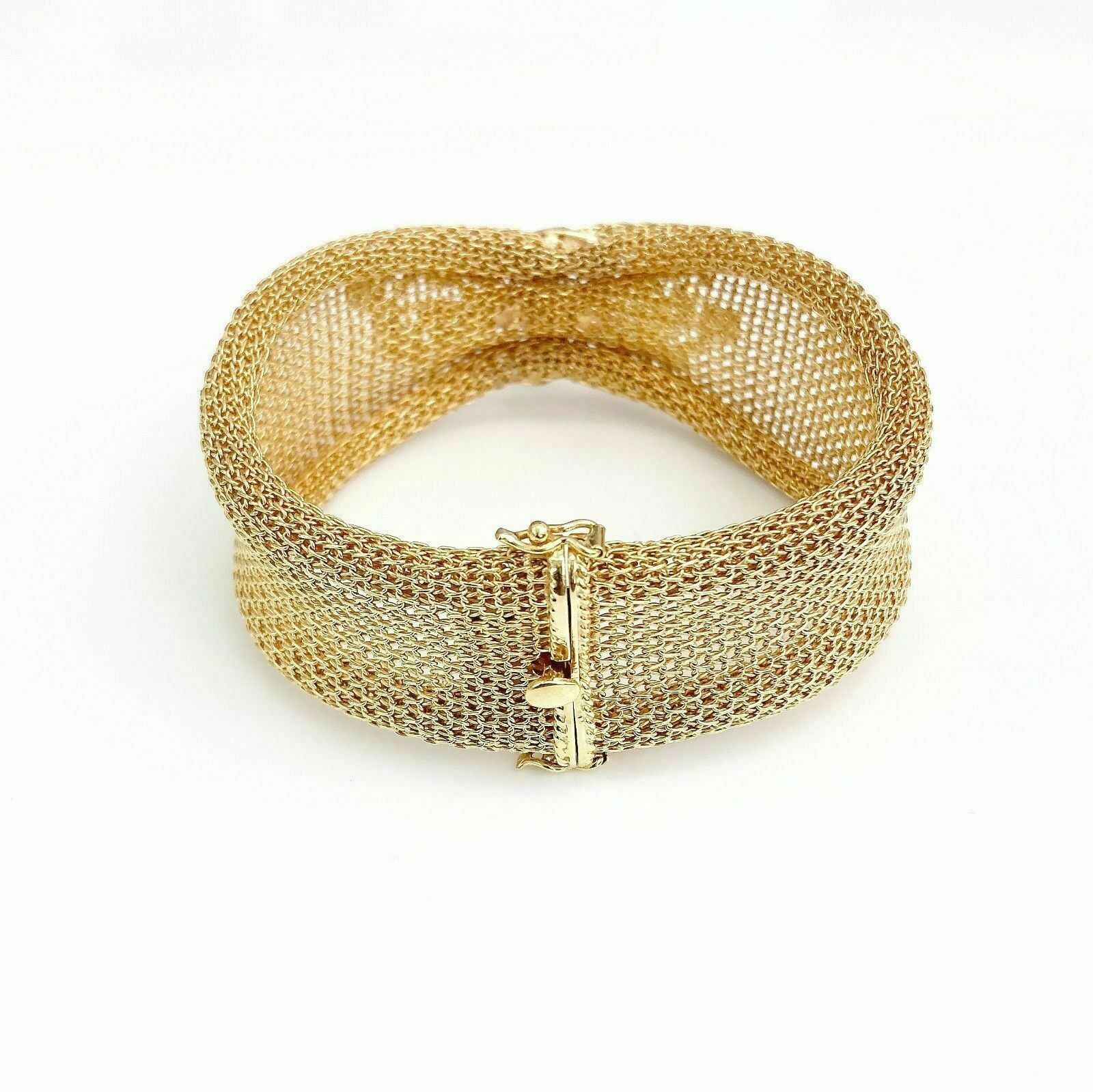 18K Rose Gold Vintage Mesh Diamond Sapphire and Ruby Bracelet 1 Inch Width