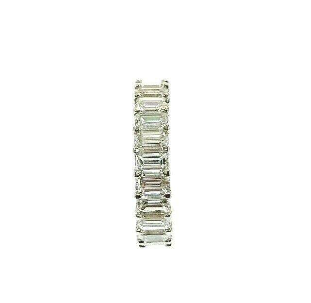 3.32 Carats Emerald Cut Diamond Eternity Band Ring Platinum 23 F- G VS Diamonds
