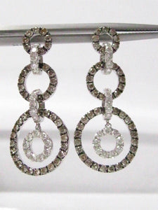 FINE 14kt White Gold Champagne Diamond Circle Dangling Earrings