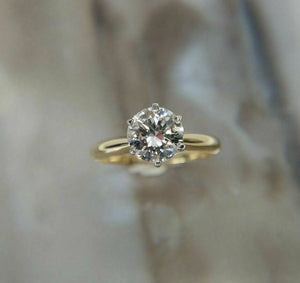 1.11CT AGS Certified J-K/SI2 RBC Diamond Solitaire 14k Yellow Gold Ring