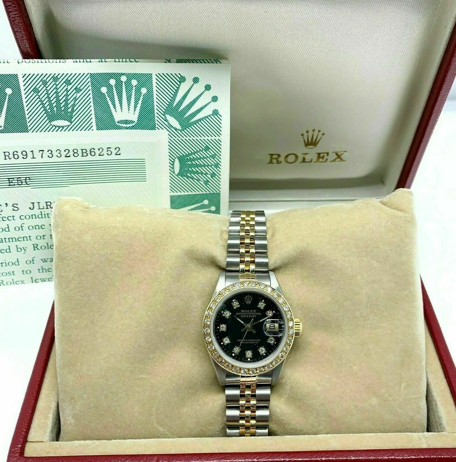 Rolex 26 MM Lady Datejust 18 Karat Yellow Gold Steel Watch Ref #61973 Box Papers