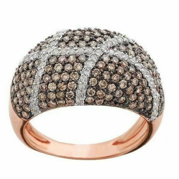 1.22 TCW Natural Round Brilliants Champagne Diamond Ring 14k Rose Gold Size 7