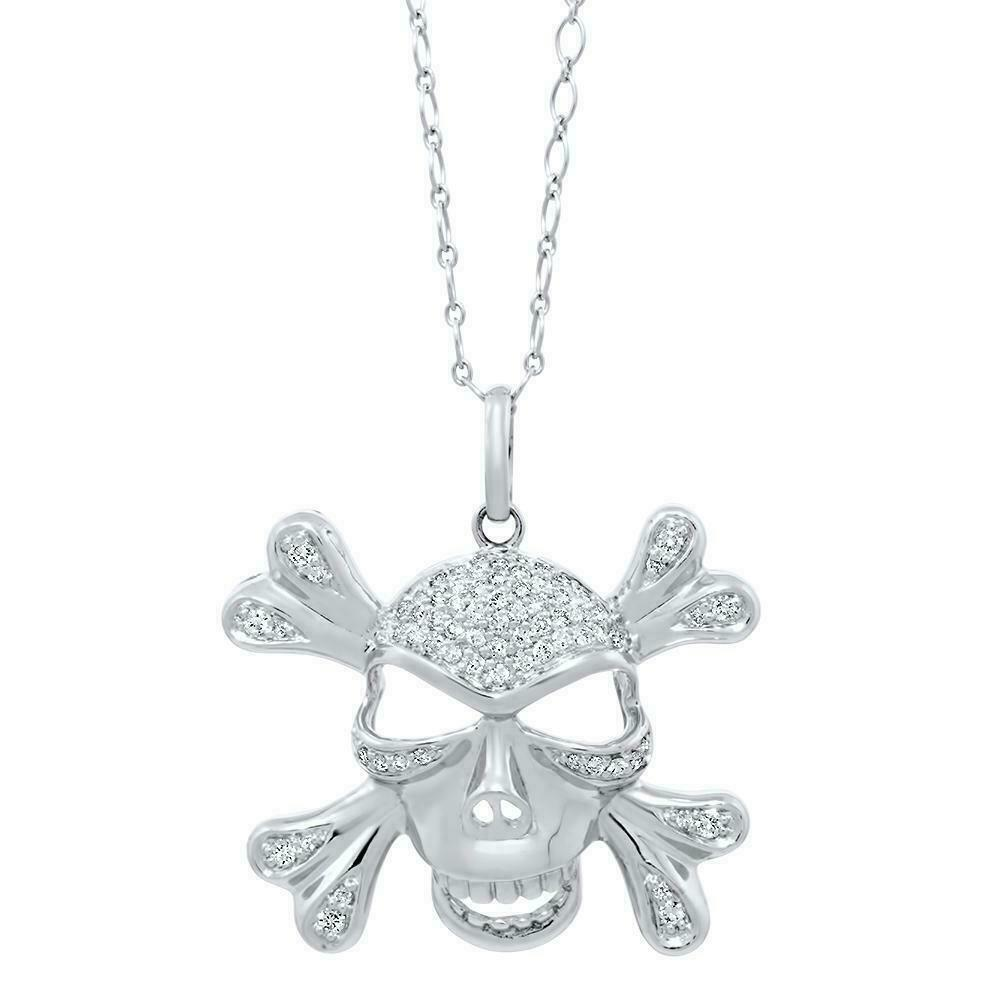 1.02 Carats Pirate Skull Diamond Pendant 14K White Gold w 14K Chain 1.50 x 1.35