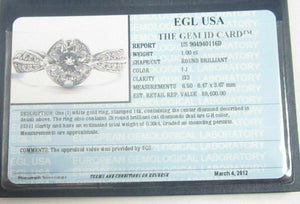 EGL Certified Center 1.00 Ct Round Cut Diamond Solitaire Engagement Ring 14k WG