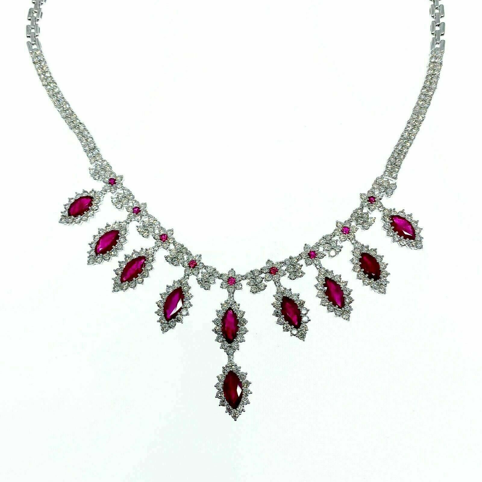 31.24 Carats t.w. Diamond and Burmese Ruby Dinner Necklace 18K Gold 54 Grams