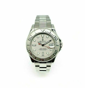 Rolex 35 MM Midsize Yacht-Master Platinum and Steel Watch Ref # 168622 BoxPapers