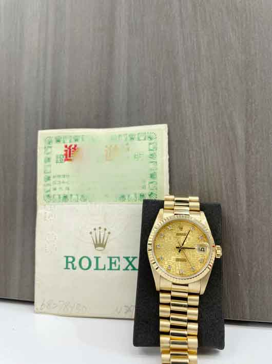 Rolex President 31mm Midsize with papers Factory Diamond Dial 68278