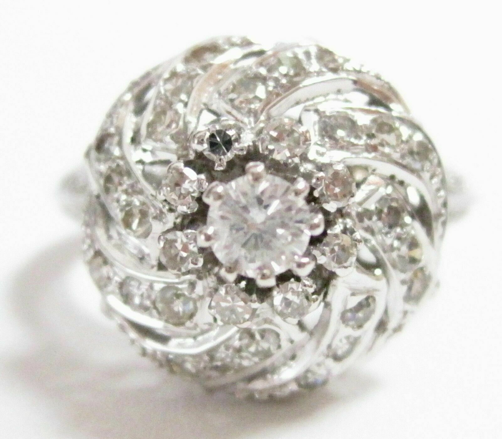 FINE Round Diamond Ring Antique Inspired 14kt White Gold
