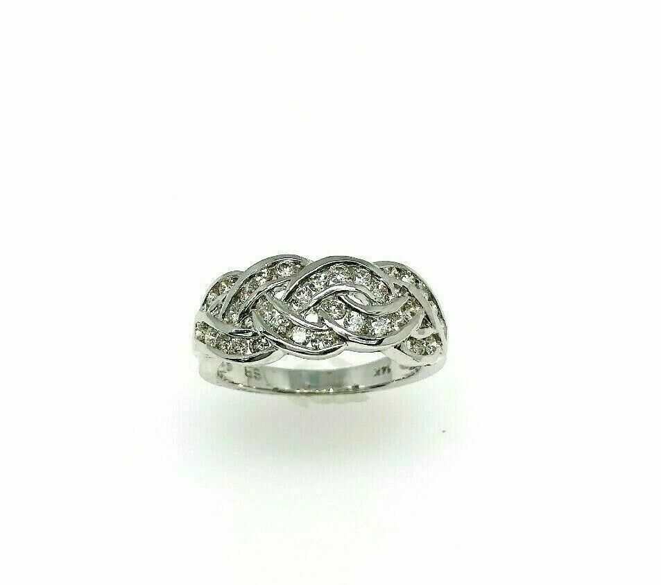 0.72 Carats t.w. Diamond Anniversary Ring 14K White Gold Channel Set Diamonds
