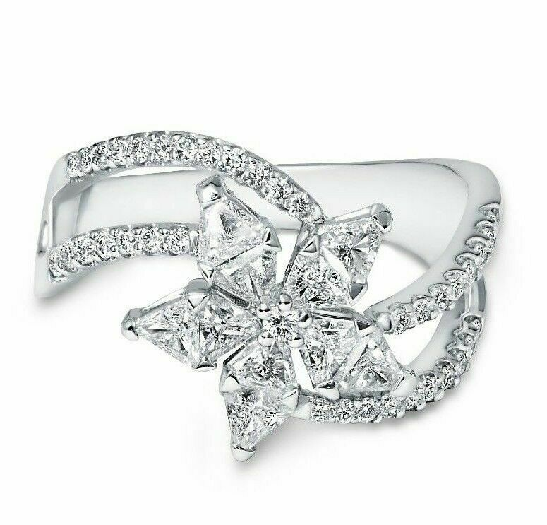 1.00 TCW Flower Diamond Trillion cut w/ Round Accents Right Hand Cocktail Ring