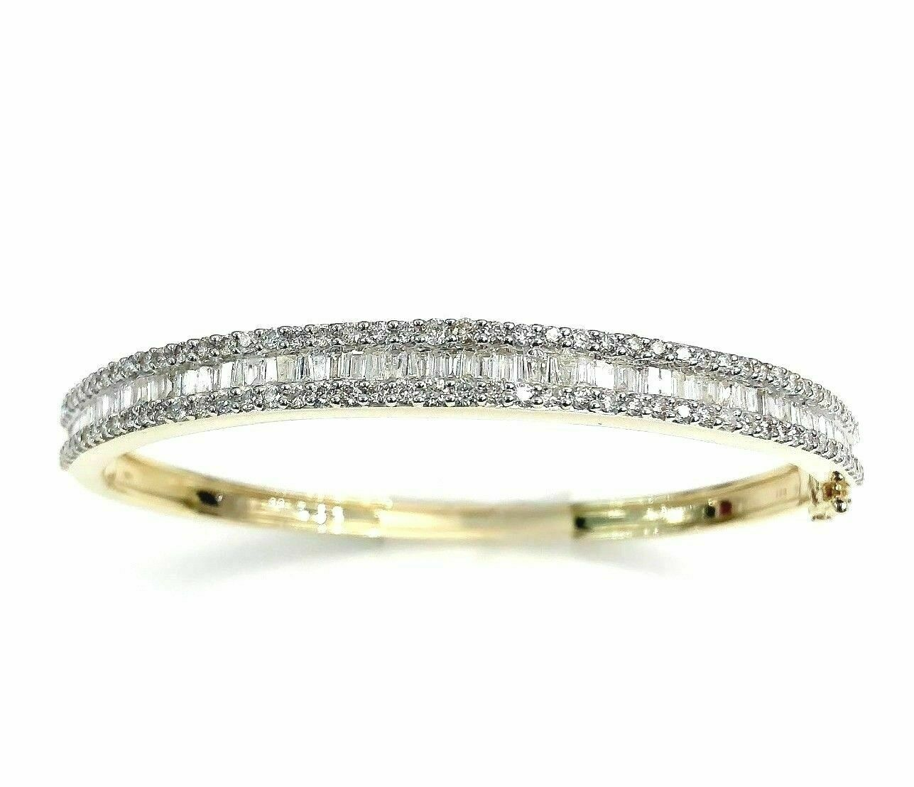 3.00 Carats t.w. Round and Baguette Diamond Bangle Bracelet 14K Gold 21 Grams