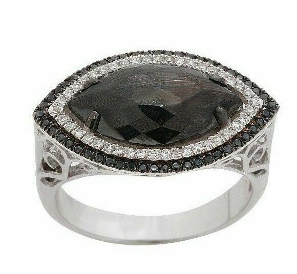 3.50ct Rose Cut Marquise Cut Black Diamond Center 2 Row Halo Cocktail Ring