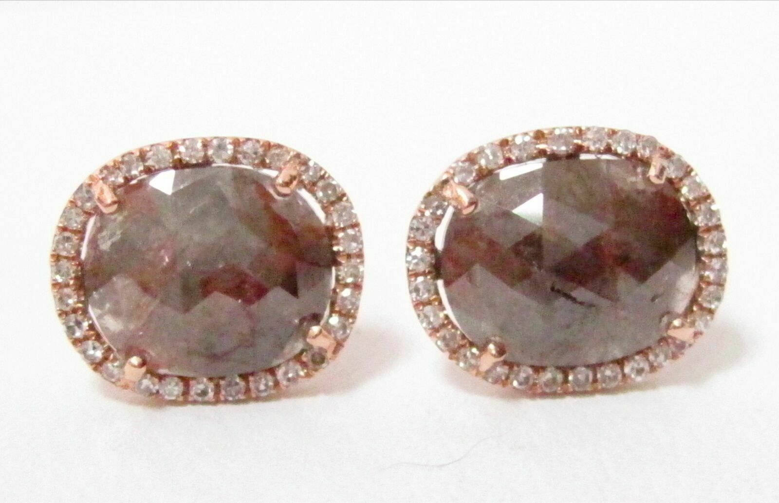 2.07 TCW Natural Oval Cut Fancy Brown Raw/Rustic Diamonds Earrings 14k Rose Gold