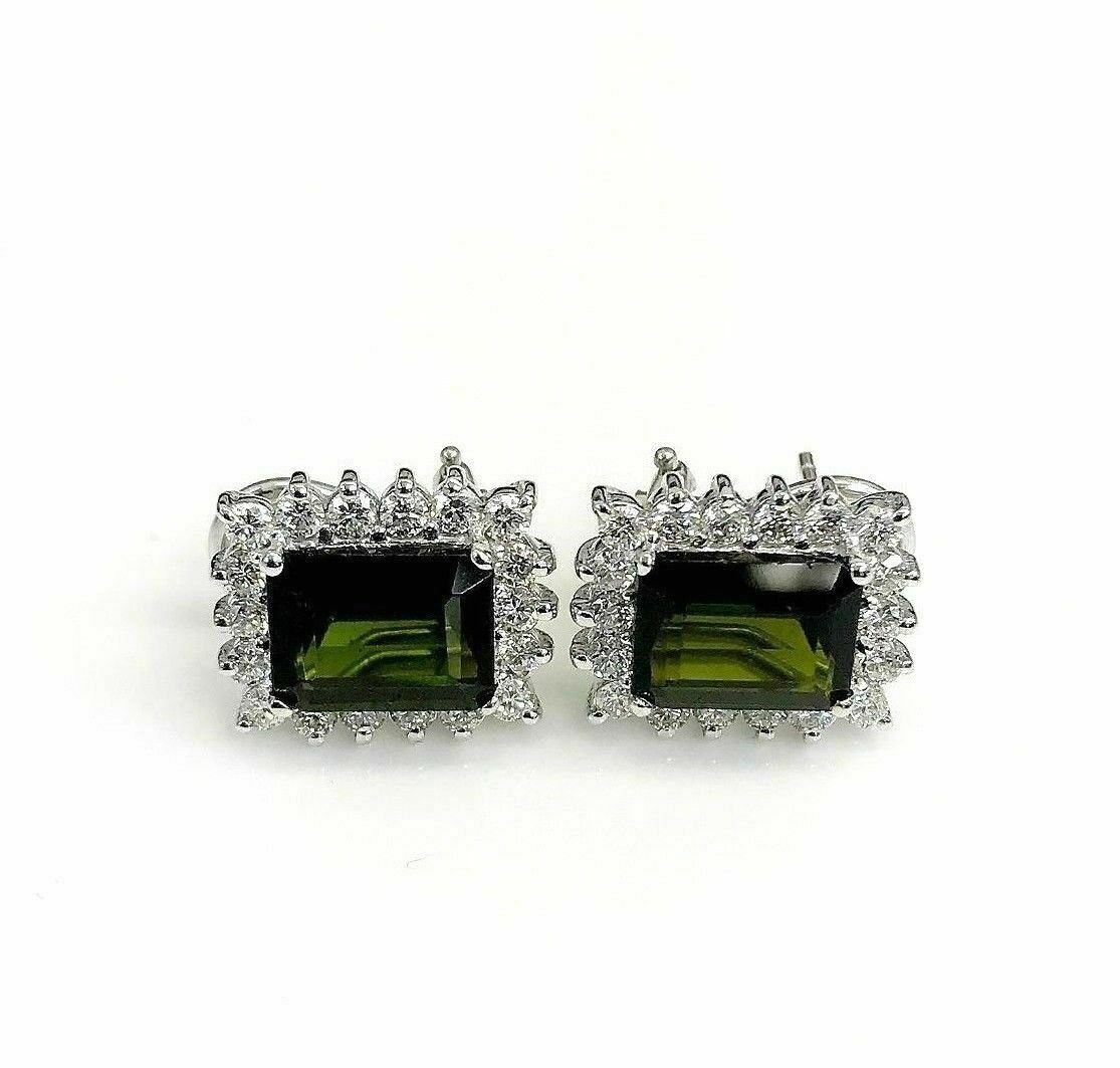 5.06 Carats t.w. Tourmaline and Diamond Halo French Clip Earrings G VS Diamonds
