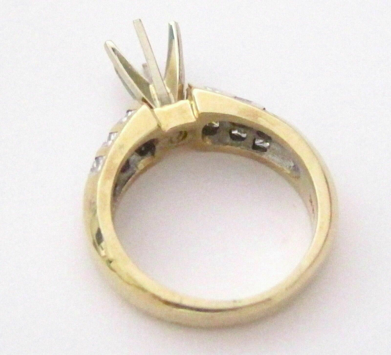 1.0 TCW 6 Prongs Semi-Mounting for Round Cut Diamond Bridal Ring 14kt Y/G