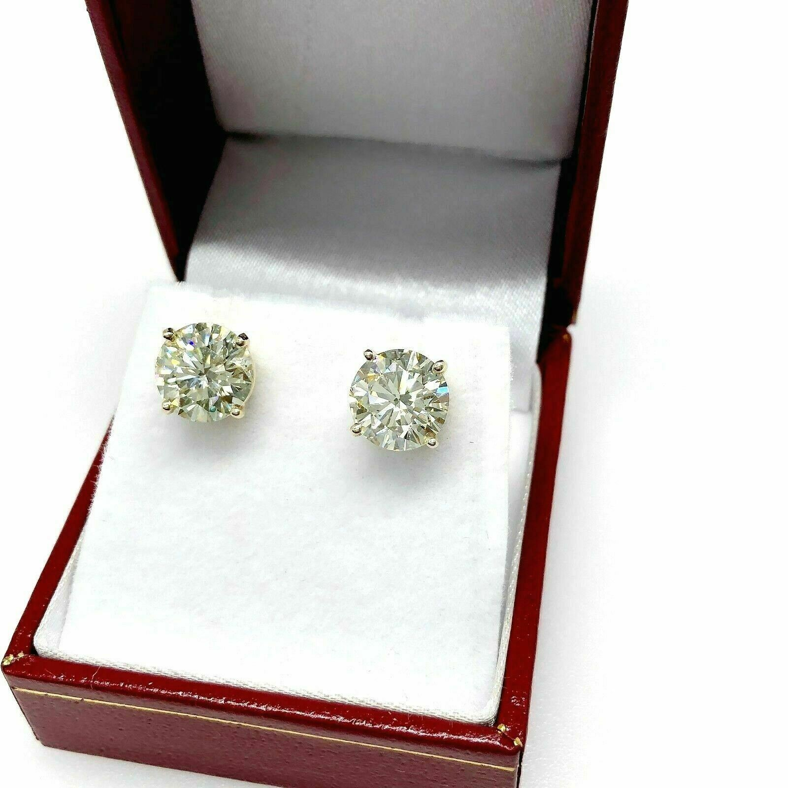 100% Natural Shiny 4.66 Carats t.w. Diamond SI - VS Stud Earrings 14K Yellow