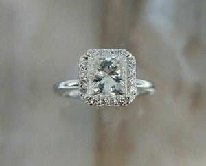 2.02CT AGS Certified G-H/SI2 Princess Cut Diamond 14K White Gold Engagement Ring