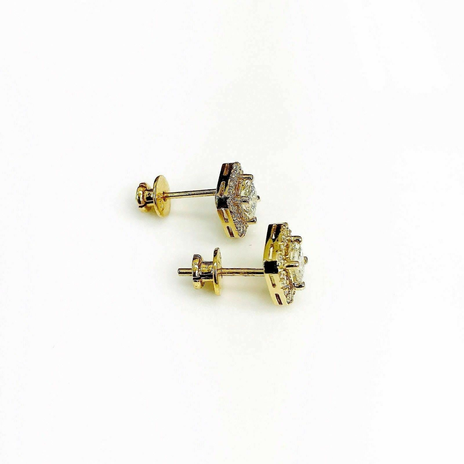0.97 Carats t.w. Princess and Round Diamond Halo Earrings 14K Yellow Gold New
