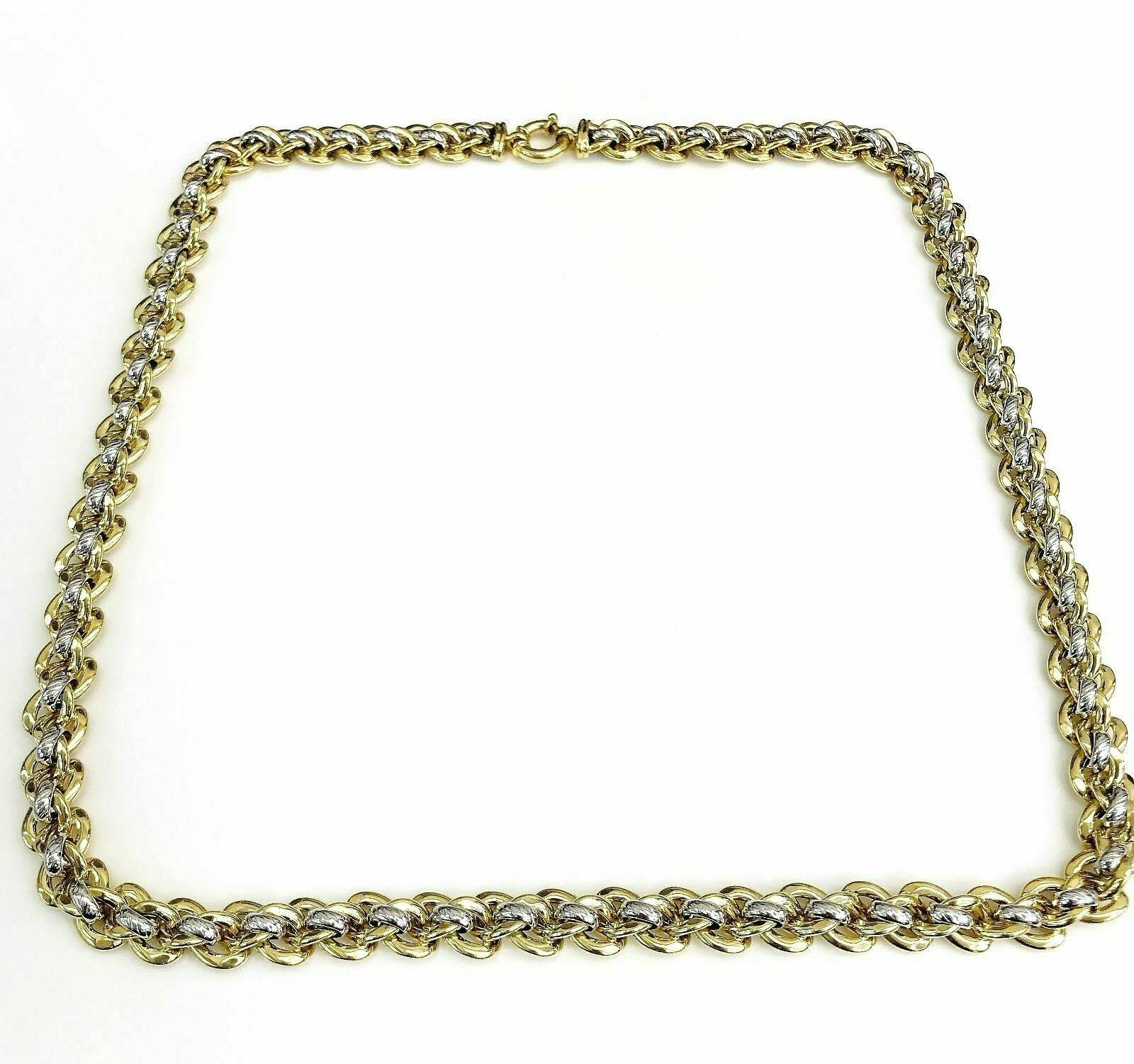 Solid 14K Gold 2Tone Gold Chain/Necklace 29.5 Inch 2.96 Ounces Made in Italy