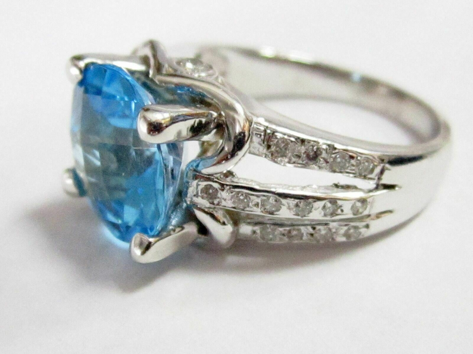 5.55 TCW Natural Round Blue Topaz & Diamond Ring Size 7 G SI-1 14k White Gold