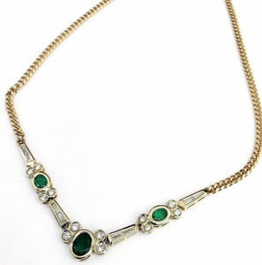 4.10 Carats t.w. Diamond and Emerald Dinner Necklace 18K Gold F VS Diamonds