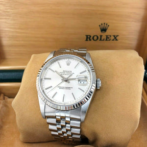 Rolex 36MM Datejust Watch 18K Gold/Stainless Ref # 16234 Factory Dial Box Papers