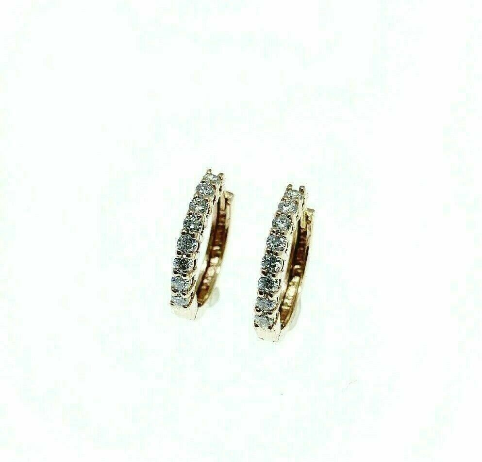 0.40 Carats Diamond Huggy Hoop Earrings 14K Rose Gold 0.50 Inch Diameter