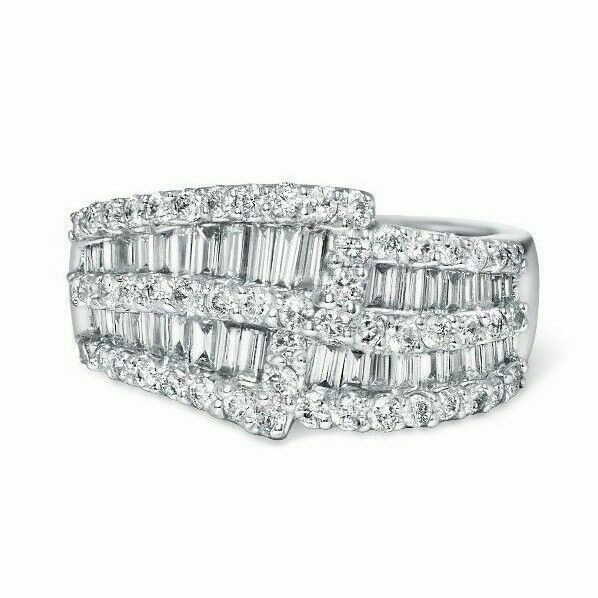 1.66 TCW Round and Baguette Diamond Overlay 18k White Gold Cocktail Ring size 8