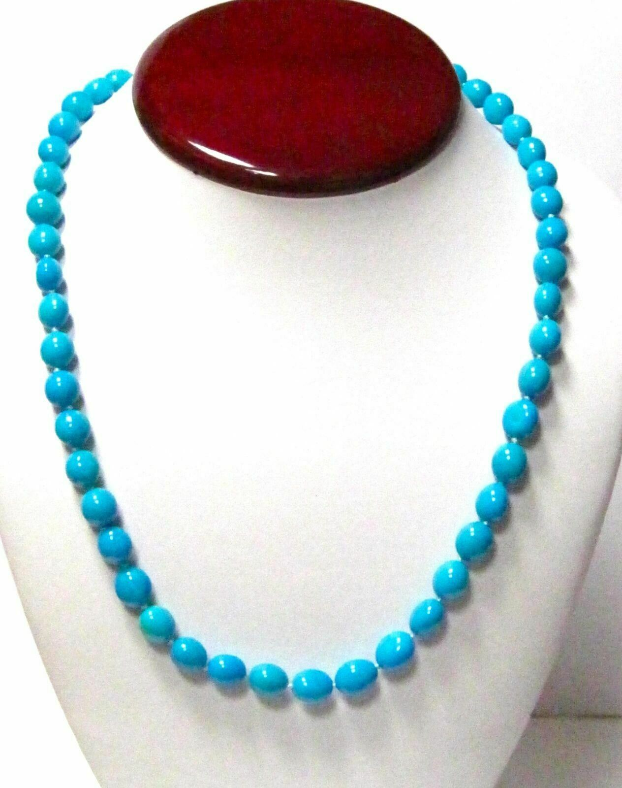 208.64 TCW Oblong/Oval Shape Persian Turquoise Bead String Necklace 20 Inches