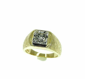 0.67 Carat Mens Round Diamond Two Tone Florentine Finish Ring 14K Yellow Gold