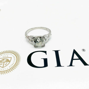 2.90 Carats Antique Art Deco Wedding Diamond Ring GIA Certificate Included 1940s