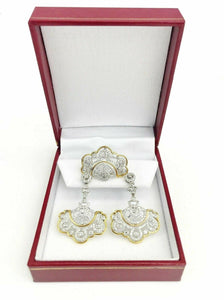 2.50 tcw Diamond Ring & Earrings Set Vintage Round Cut 18K two tone Gold