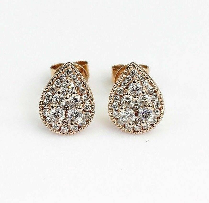 0.68 Carat t.w. Diamond Halo Invisible Set Earrings 18K Rose Gold Brand New