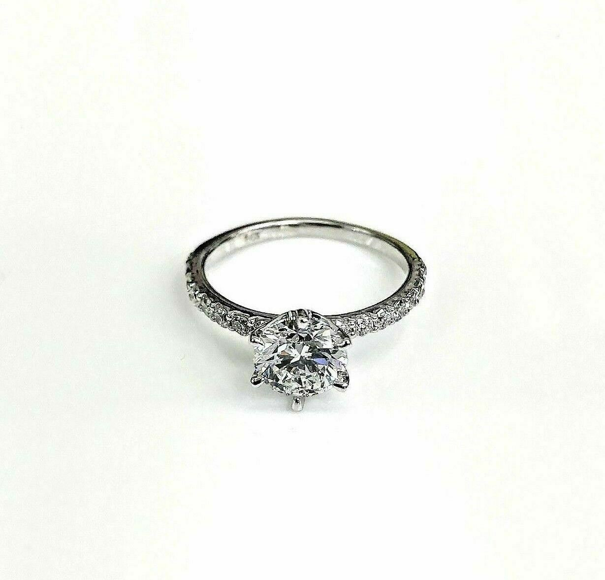 $14,600 Retail 1.24 Carats EGLUSA F SI1 Round Diamond Solitaire Engagement Ring