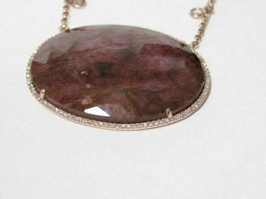 42.77 TCW Natural Rough Ruby & Diamond Accents Pendant Necklace 14k Rose Gold