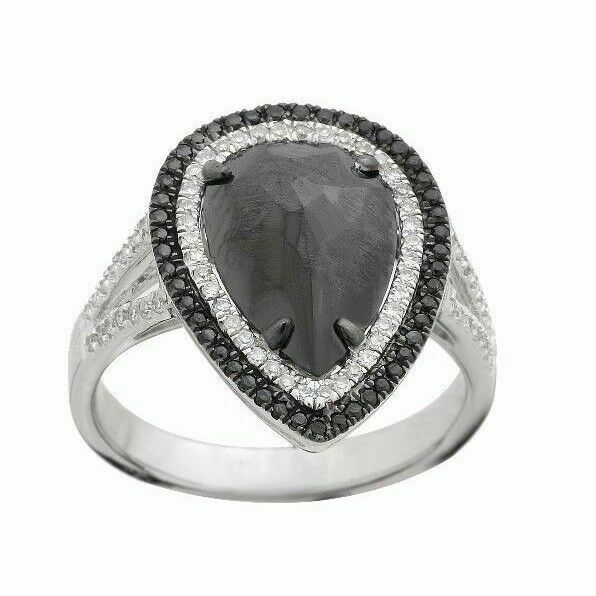 2.58Ct Rose Cut Pear Black Diamond Center Double Halo Split Shank Cocktail Ring